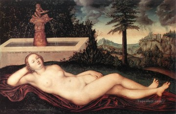 fountain Painting - Reclining River Nymph At The Fountain Lucas Cranach the Elder nude