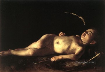 sleep Painting - Sleeping Cupid Caravaggio nude