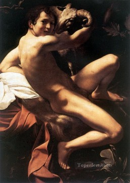 st john the baptist Painting - St John the Baptist Youth with Ram Caravaggio nude