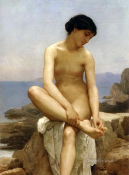 bath girl oil painting Painting - TheBather 1879 William Adolphe Bouguereau nude