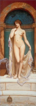 bath girl oil painting Painting - Venus at the Bath lady nude John William Godward
