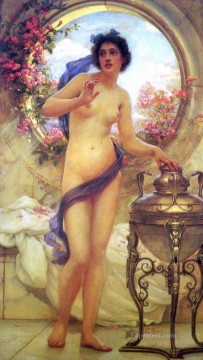 Classic Nude Painting - realism beauty nude girl Ernest Normand Classical Nude