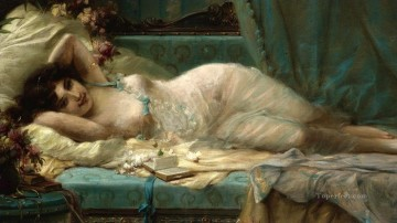 sleeping girl Hans Zatzka Classic nude Oil Paintings