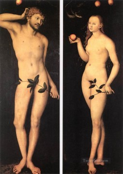 Adam And Eve 1528 religious Lucas Cranach the Elder nude Oil Paintings
