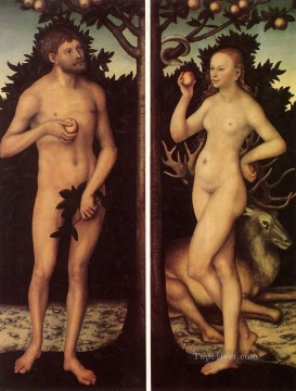 Adam And Eve 2 religious Lucas Cranach the Elder nude Oil Paintings
