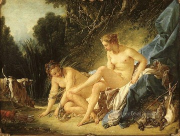 vagabonds resting in a cave Painting - Diana resting after her Bath Francois Boucher nude