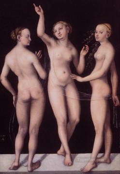 horce races racing Painting - The Three Graces Lucas Cranach the Elder nude