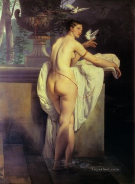 Venus Playing With Two Doves 1830 female nude Francesco Hayez Oil Paintings