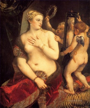 1553 Works - Venus in front of the mirror 1553 nude Tiziano Titian