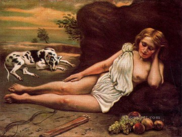 Classic Nude Painting - diana sleep in the woods 1933 Giorgio de Chirico Classical Nude