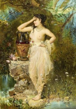 girl with a pot Hans Zatzka Classic nude Oil Paintings