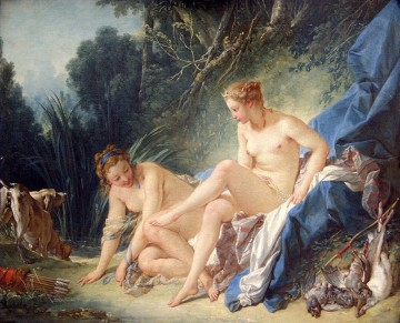 Classic Nude Painting - Diana getting out of her ba Francois Boucher Classic nude