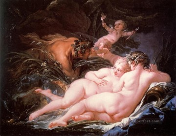 Pan and Syrinx pink Francois Boucher Classic nude Oil Paintings