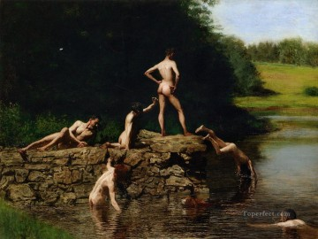 photorealism realism Painting - Swimming Realism Thomas Eakins nude