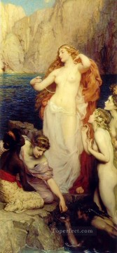 The Pearls of Aphrodite Herbert James Draper nude Oil Paintings