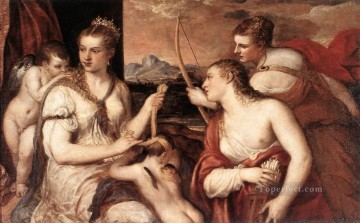 Cupid Works - Venus Blindfolding Cupid nude Tiziano Titian