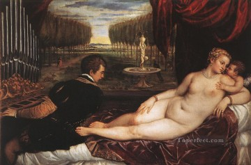 Cupid Works - Venus with Organist and Cupid nude Tiziano Titian
