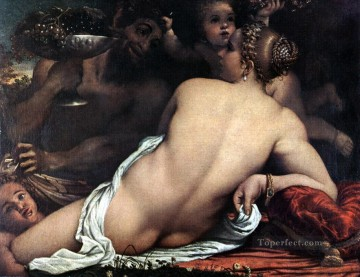 Venus with a Satyr and Cupids Annibale Carracci nude Oil Paintings