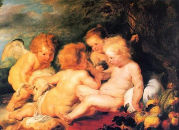 Angels Works - christ and st john with angels Peter Paul Rubens nude