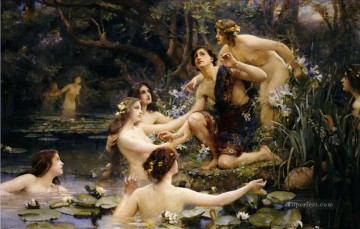 Hylas and the Water Nymphs Henrietta Rae Classical Nude Oil Paintings