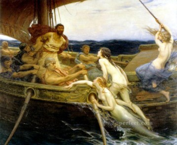 James Ulysses and the Sirens Herbert James Draper nude Oil Paintings