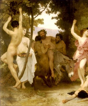 left Canvas - La jeunesse de Bacchus left dt William Adolphe Bouguereau nude