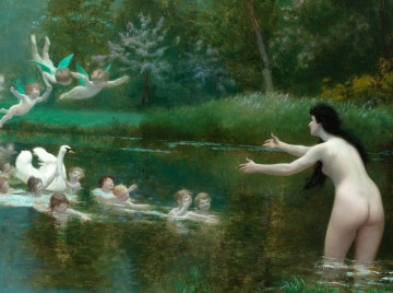 Classic Nude Painting - Leda and swan angels Classic nude