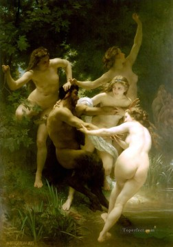 Nymphes et satyre William Adolphe Bouguereau nude Oil Paintings