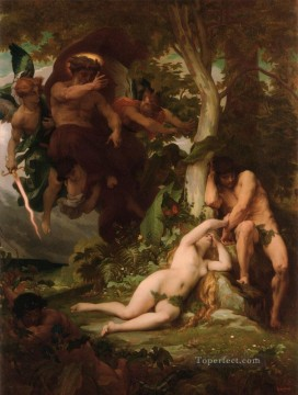 adam Painting - The Expulsion of Adam and Eve from the Garden of Paradise Alexandre Cabanel nude