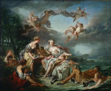 Europe Painting - The Abduction of Europe Francois Boucher Classic nude