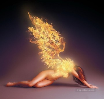 Photos Oil Painting - fire of wing nude from photos