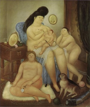 Color photograph Painting - Protestant family Fernando Botero nude