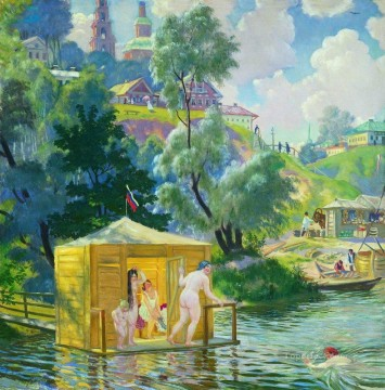 Artworks in 150 Subjects Painting - bathing 1921 1 Boris Mikhailovich Kustodiev nude