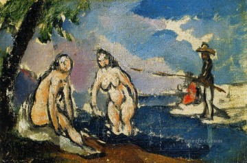 Nude and Ballerina Painting - Bathers and Fisherman with a Line Paul Cezanne Impressionistic nude