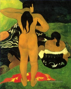 women Painting - Tahitian Women Bathing Paul Gauguin nude impressionism
