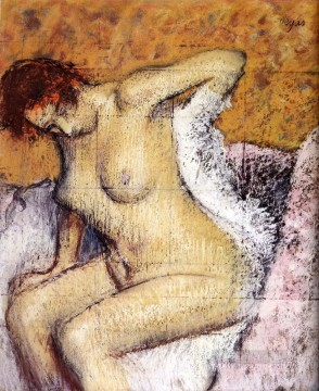Nude and Ballerina Painting - After The Bath nude balletdancer Edgar Degas