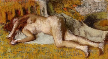 After the Bath 3 nude balletdancer Edgar Degas Oil Paintings
