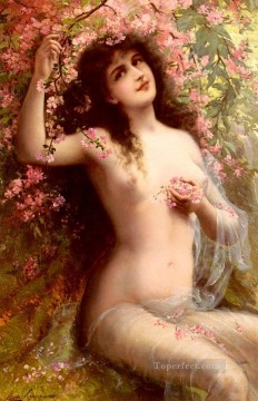 Among The Blossoms girl body Emile Vernon Impressionistic nude Oil Paintings