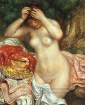 Bather Arranging her Hair female nude Pierre Auguste Renoir Oil Paintings
