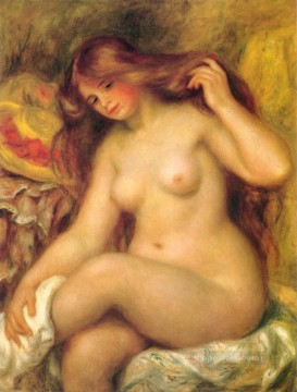 Bather with Blonde Hair female nude Pierre Auguste Renoir Oil Paintings
