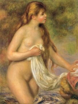 Bather with Long Hair female nude Pierre Auguste Renoir Oil Paintings