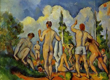 Bather Art - Bathers 1894 Paul Cezanne Impressionistic nude