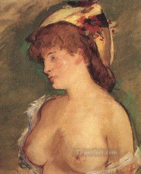 Blond Woman with Bare Breasts nude Impressionism Edouard Manet Oil Paintings