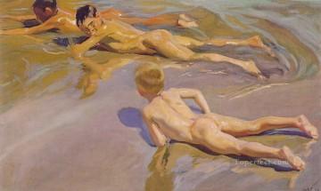 Nude and Ballerina Painting - Children on the Beach ATC painter Joaquin Sorolla Impressionistic nude