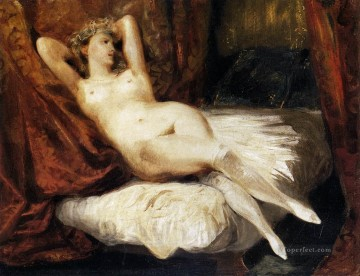 Female Nude Reclining on a Divan Romantic Eugene Delacroix Oil Paintings