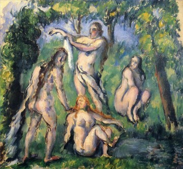 Nude and Ballerina Painting - Four Bathers 2 Paul Cezanne Impressionistic nude