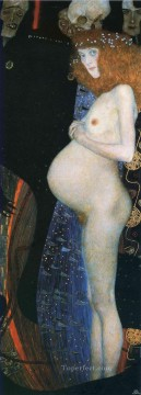 Hope I Gustav Klimt Impressionistic nude Oil Paintings