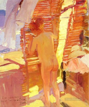 La Nina Curiosa painter Joaquin Sorolla Impressionistic nude Oil Paintings