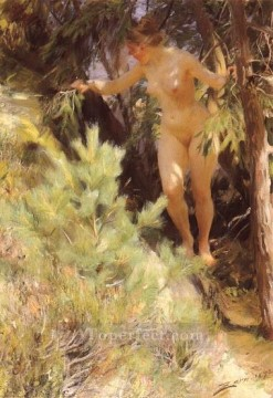 Impressionist Nude Painting - Nude under a fir foremost Sweden painter Anders Zorn