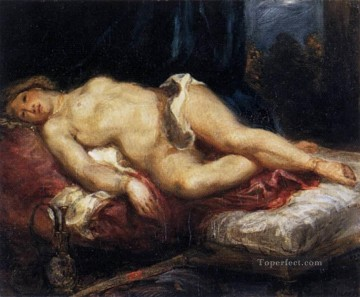 Nude and Ballerina Painting - Odalisque Reclining on a Divan Romantic Eugene Delacroix